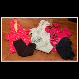Carters lot, 3pants, 3hooded tops, 12months.